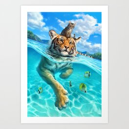 A small swim for a tiger Art Print