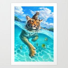 A small swim for a tiger Art Print