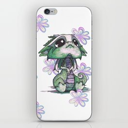 Baby Dragon with Flowers iPhone Skin