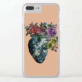 Flowered Heart Clear iPhone Case