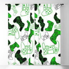 Video Games Green on White Blackout Curtain