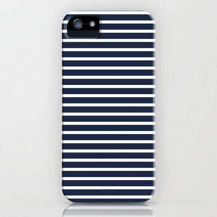 Nautical Navy and White Horizontal Stripes iPhone Case