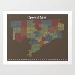 Zipcodes of Detroit Art Print