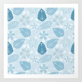 Blue Tropical Leaf Floral Pattern Art Print