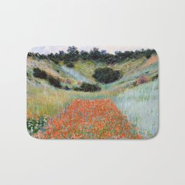 Poppy Field in a Hollow near Giverny by Claude Monet Bath Mat