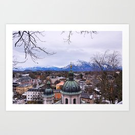 Mountains and City Art Print