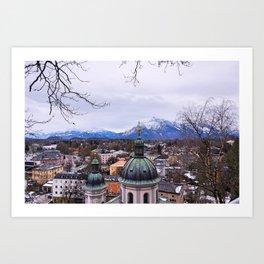 Mountains and City-Salzburg, Austria Art Print
