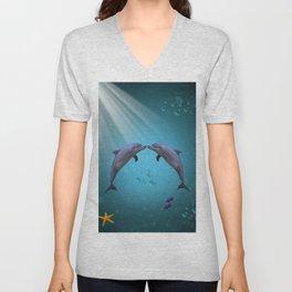 dolphins love Unisex V-Neck