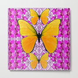 FUCHSIA COLORED  ORCHIDS &  YELLOW  BUTTERFLY FLORAL Metal Print