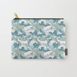 Whales and waves pattern Carry-All Pouch