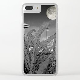Snow crystals with moon Clear iPhone Case