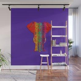 Rainbow Ganesha (Purple Background) Wall Mural