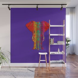 Rainbow Ganesha (Purple Background) Wall Mural