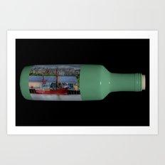 Ship in a Bottle on Black Art Print