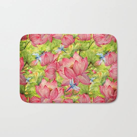 Floral Lotus Flowers Pattern with Dragonfly Bath Mat