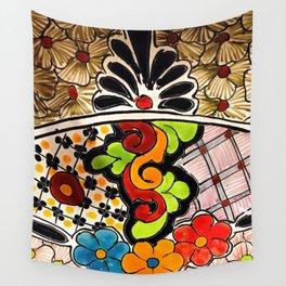 Beautiful Red and Green Talavera Wall Tapestry