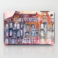 takmaj iPad Cases featuring Apartment House in Poznan and orange umbrellas by takmaj