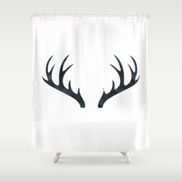 Antlers Black and White Shower Curtain