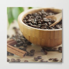 Still life of bamboo shell with fine Arabica coffee and  cinnamon Metal Print