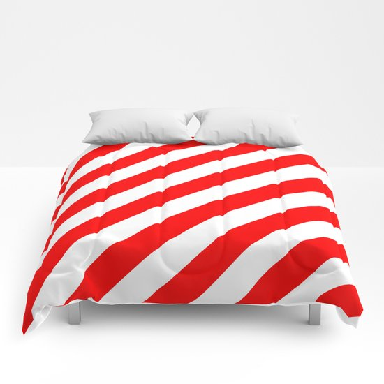 Diagonal Stripes (Red/White) Comforters