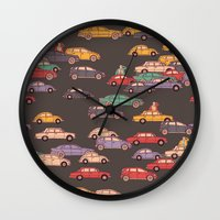 mercedes Wall Clocks featuring Never-ending traffic jam by smallDrawing