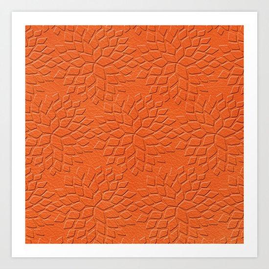 Leather Look Petal Pattern - Flame Color Art Print