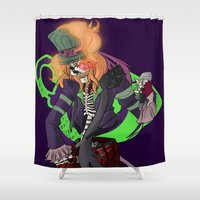 mad hatter Shower Curtains featuring Mad T Virus Hatter by 8BitSpirit
