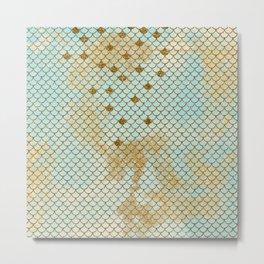 Mermaid Scales- Mermaidscales Gold and Aqua Fish Scales Metal Print