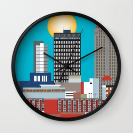 Des Moines, Iowa - Skyline Illustration by Loose Petals Wall Clock