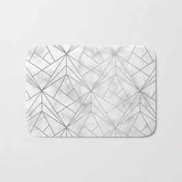 Geometric Silver Pattern on Marble Texture Bath Mat