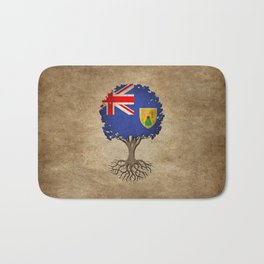 Vintage Tree of Life with Flag of Turks and Caicos Bath Mat