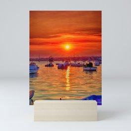 sunset at portopalo sicily Mini Art Print