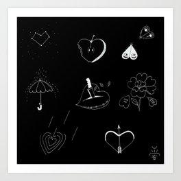 Heart-shaped illustrations Art Print
