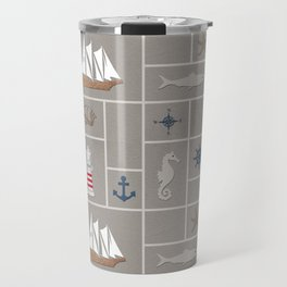 Nautical symbols on sandy background Travel Mug