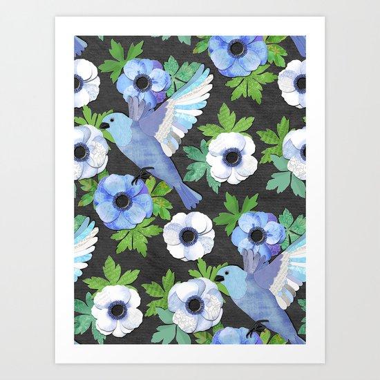 Blue Bird & Anemone Collage Art Print