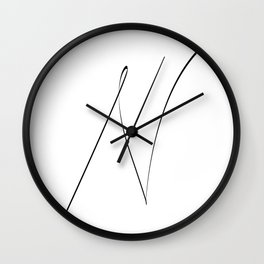 """ Singles Collection "" - One Line Minimal Letter N Print Wall Clock"