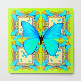 Turquoise Satin Butterflies On Lime & Cream Colors Metal Print