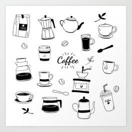 Hand Drawn Black Coffee and Cafe Pattern Art Print