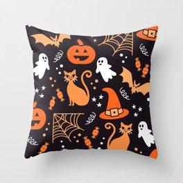 Halloween party illustrations orange, black Throw Pillow