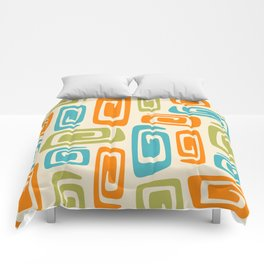 Mid Century Modern Cosmic Abstract 738 Orange Blue and Green Comforters