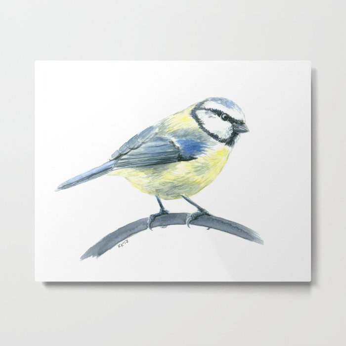 Blue tit, watercolor painting Metal Print