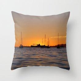 Sunset Boats Throw Pillow
