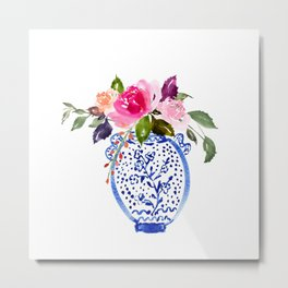 Whimsical Chinoiserie - Number 3 Metal Print