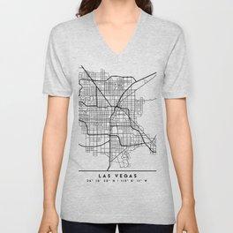 LAS VEGAS NEVADA BLACK CITY STREET MAP ART Unisex V-Neck
