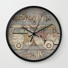 adventure awaits world map design 1 Wall Clock