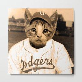 Baseball Cat Metal Print