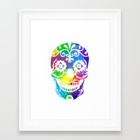 sugar skull Framed Art Prints featuring Sugar Skull by Diana Arend
