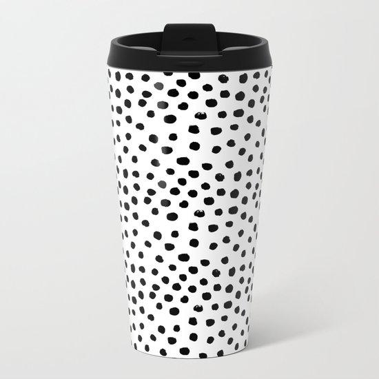 Preppy black and white dots minimal abstract brushstrokes painting illustration pattern print  Metal Travel Mug