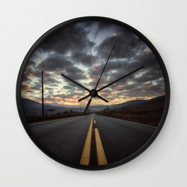 Road Sunrise Wall Clock