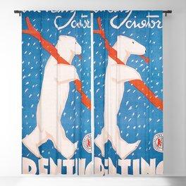 Vintage Ski Bear Blackout Curtain